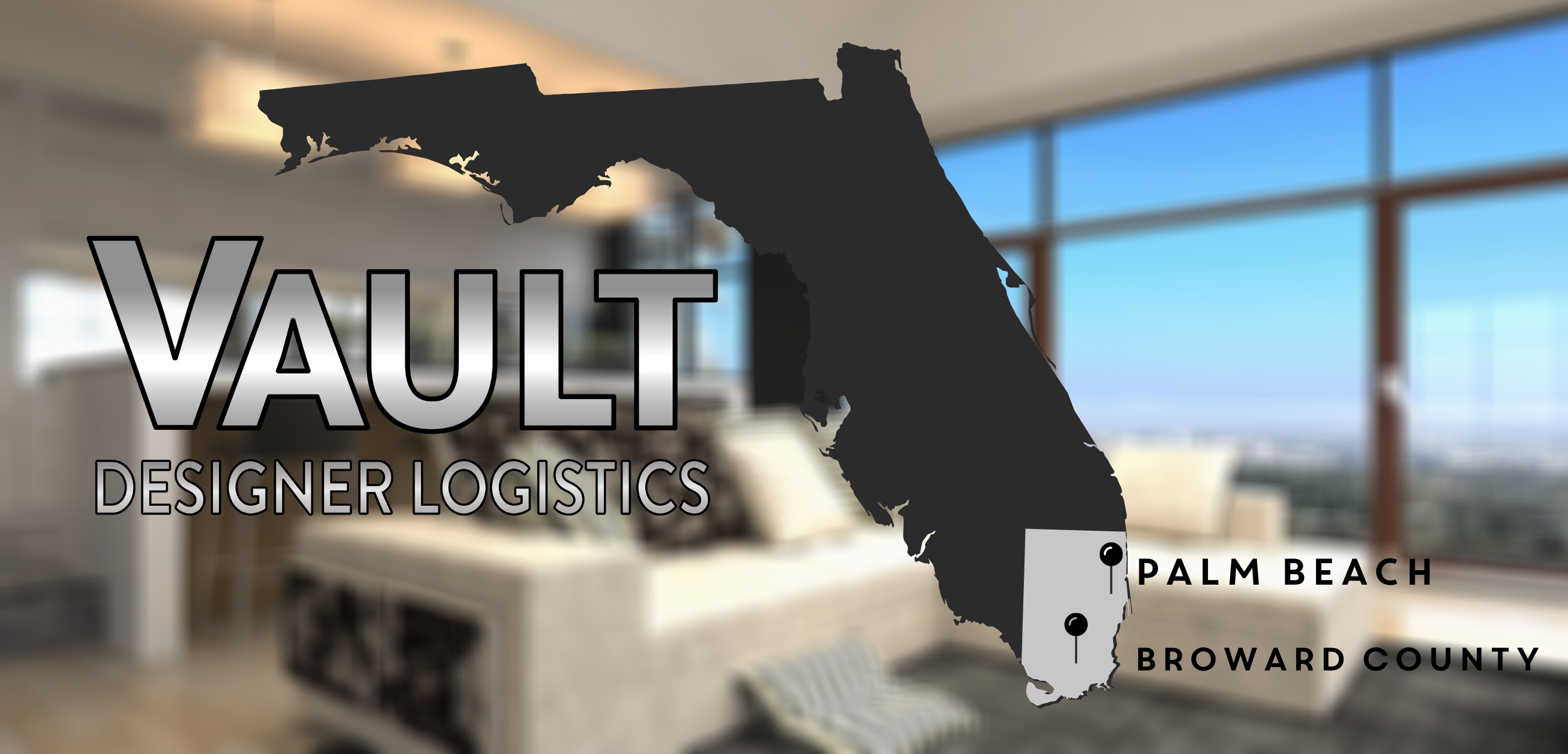 A map of Florida showing where Vault Designer Logistics is located in Broward and West Palm Beach Florida.